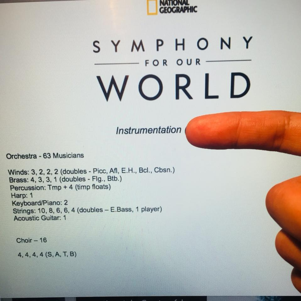 EMN's Artistic Director is currently working on a new commission from National Geographic. It'll be a 20 minute score for full symphony orchestra and choir that'll be completed by the end of this month. It'll be premiered at Davis Symphony Hall in SF on  Apr 22  w/ Daveed Diggs, from Hamilton, as the narrator. Shortly after this performance they'll take it on tour.