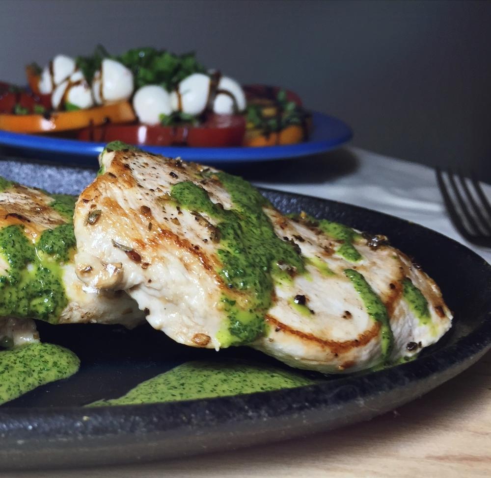 Chicken Paillard with Three-herb Summer Sauce
