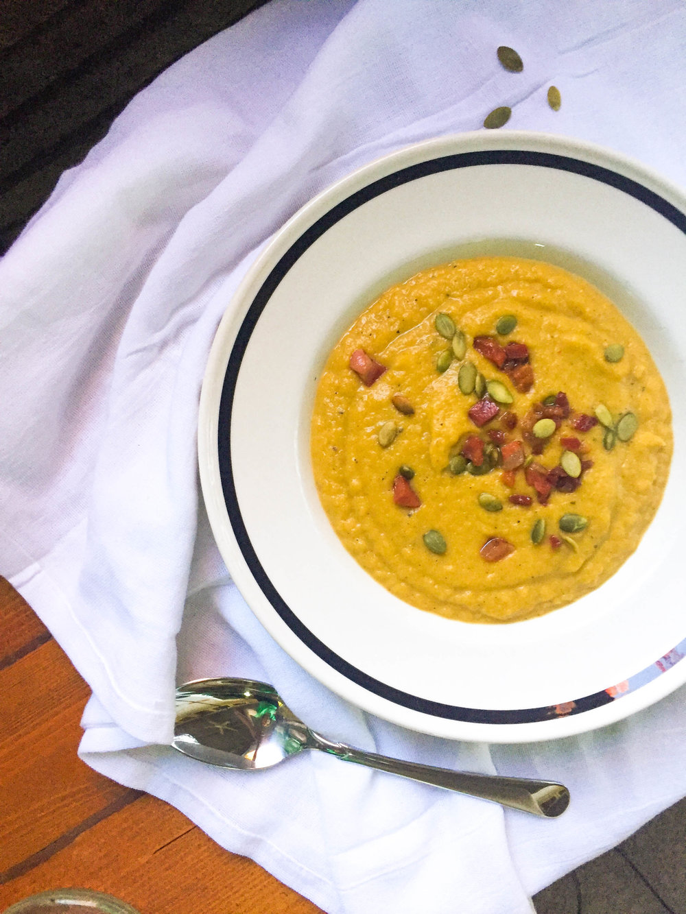 Roasted Acorn Squash Soup with Pancetta