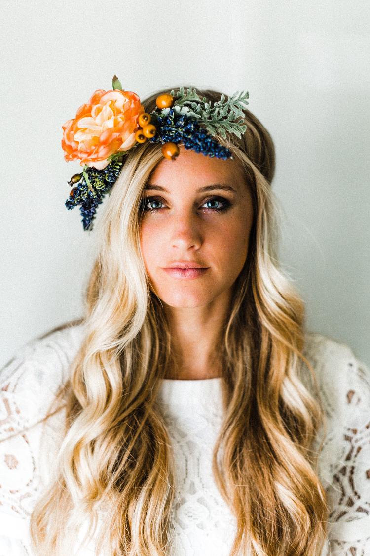 Tangerine indigo flower crown emily rose flower crowns tangerine indigo flower crown izmirmasajfo