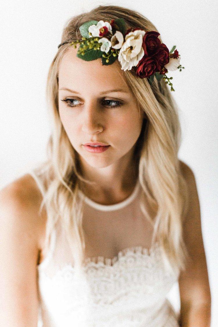 Maroon ivory flower crown emily rose flower crowns maroon ivory flower crown izmirmasajfo