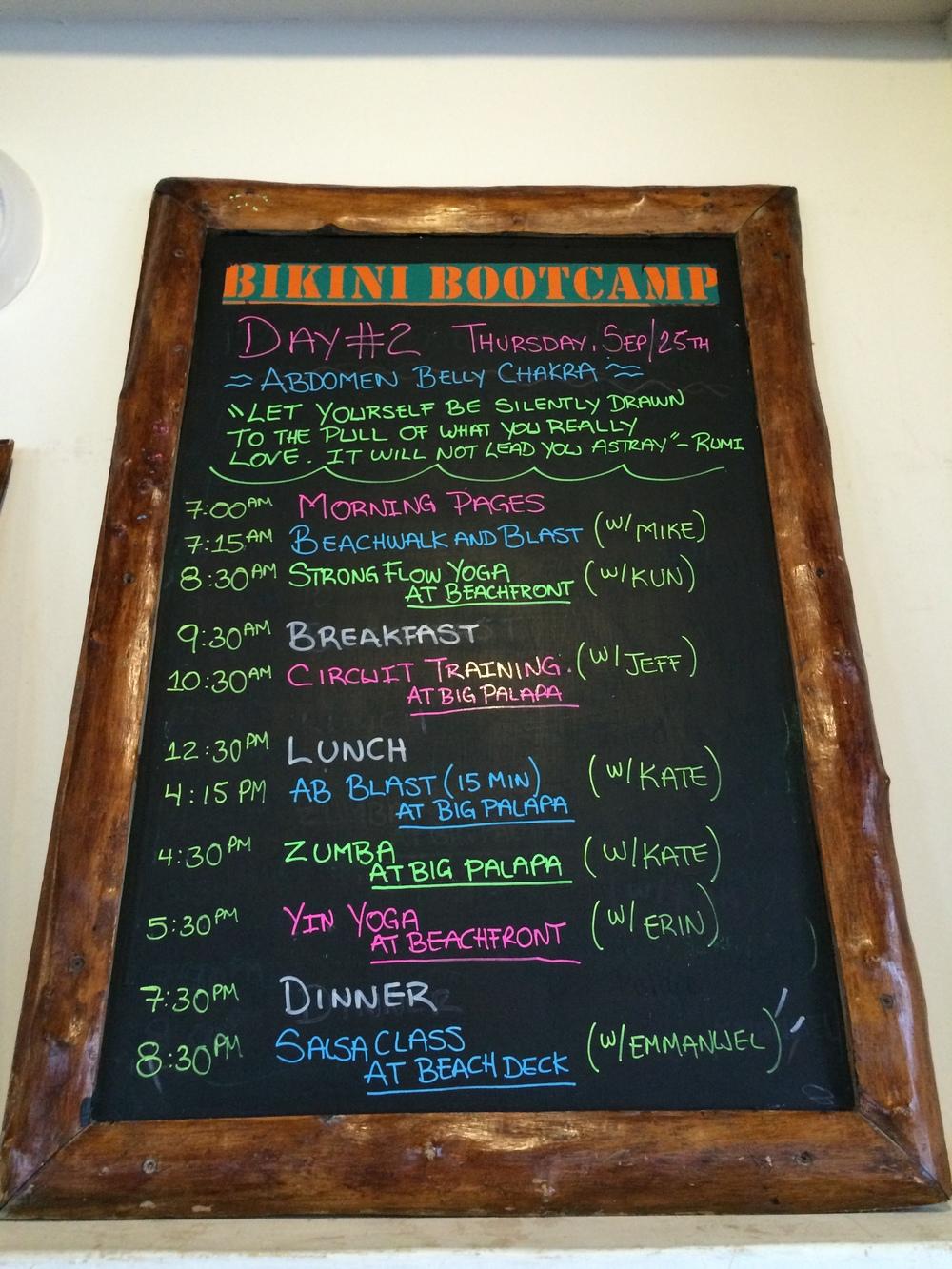 Daily fitness board at Amansala's Bikini Bootcamp
