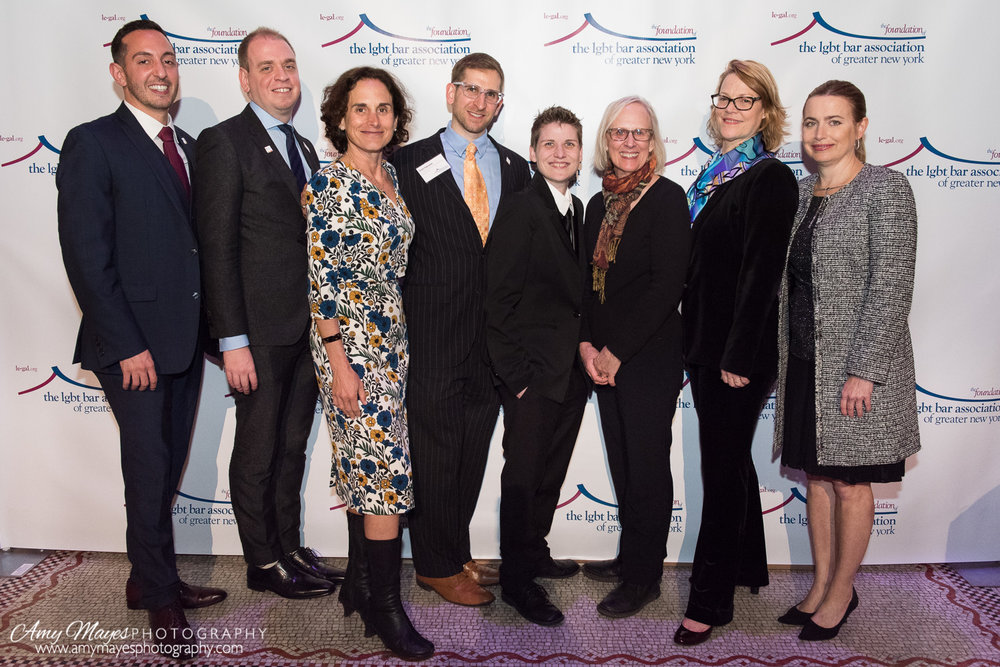 LeGaL executive director Matthew Skinner; LeGaL president Gennaro Savastano; Susan Sommer, associate legal director and director of constitutional litigation for Lambda Legal; LeGaL legal director Brett Figlewski; plaintiffs Brooke Barone and Alison Dye, and Blank Rome partners Meg Canby and Caroline Krauss-Browne