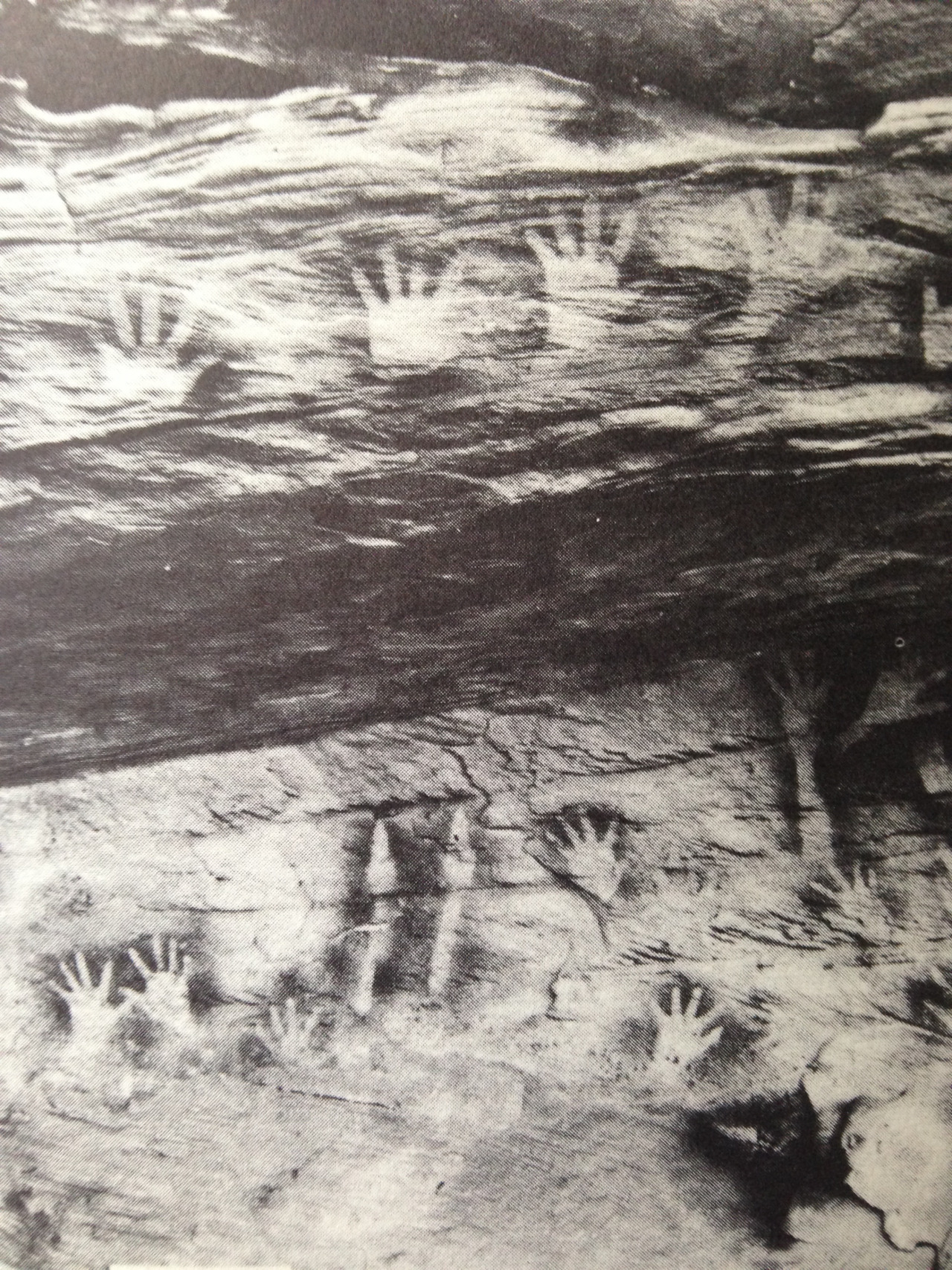 negatives of human hands from rock shelter at Toombs, New South Wales.