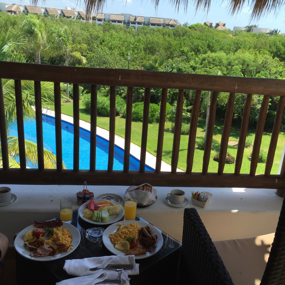 Room-service breakfast on the balcony at 10:00 AM. Enough Said.