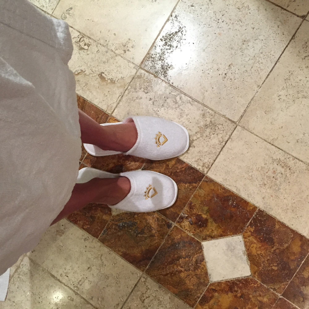 Robes and slippers in the beautiful bathroom. Again, enough said.