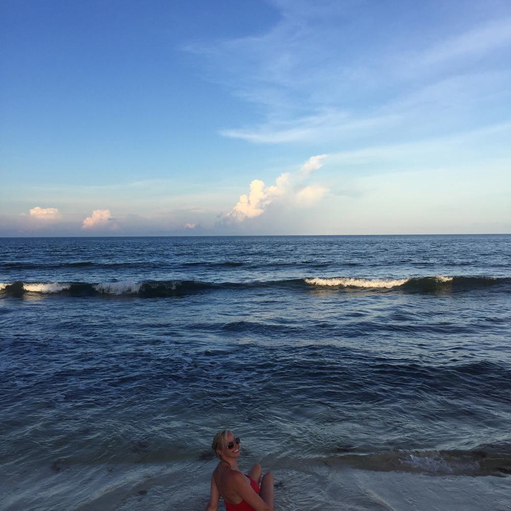 Taking in the ocean waves.