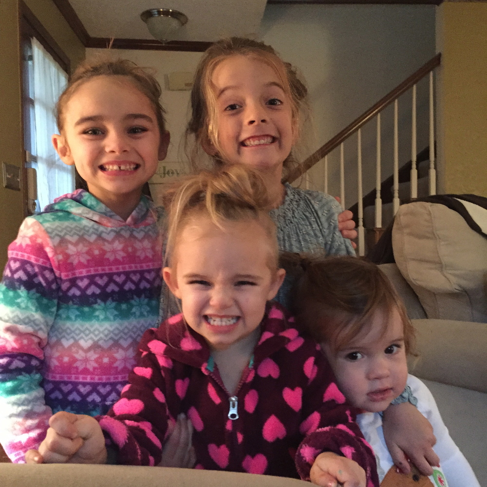 my girls and their little besties nextdoor, being silly together on a cold cooped-up day!
