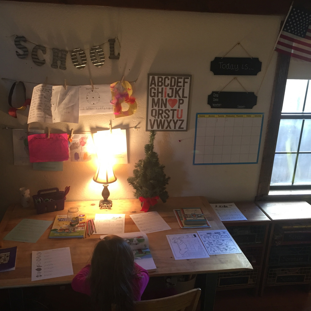 our little classroom! Still lovinng the blended model we have started this year, cannot believe the semester is almost over! Abigail has thrived this year...so so thankful God brought us to this path!