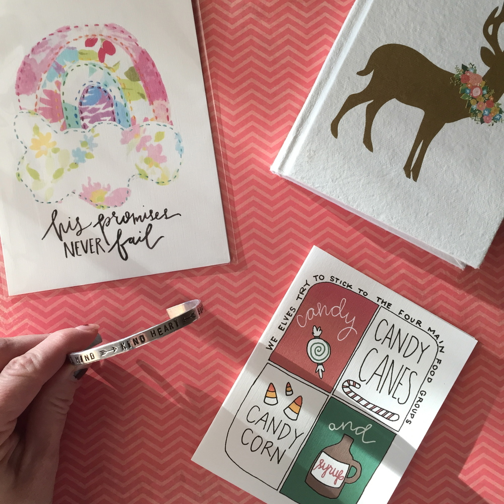 I always do a secret santa gift exchange with my besties all over the country...the BEST happy mail.  Carina  got me and totally blessed my socks off!