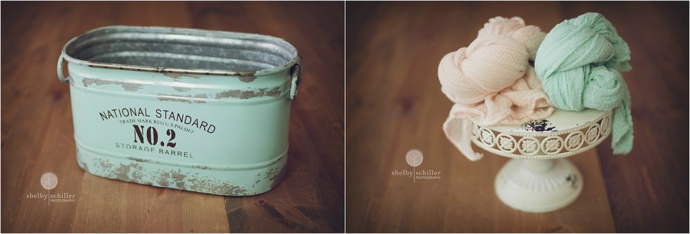 newborn-photography-mint-and-peach-wraps-and-vintage-bucket-props
