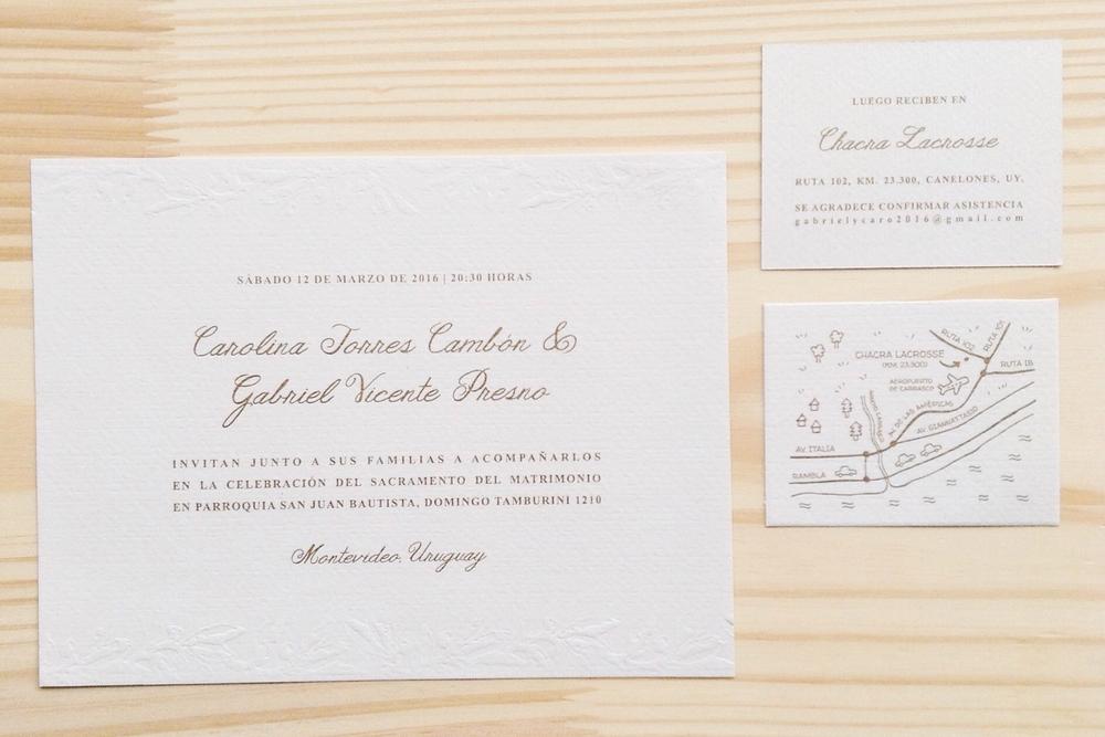 TARJETA + MINI-TARJETA MAPA + SOBRE | DISEÑO PERSONALIZADO | Boda: Carolina y Gabriel