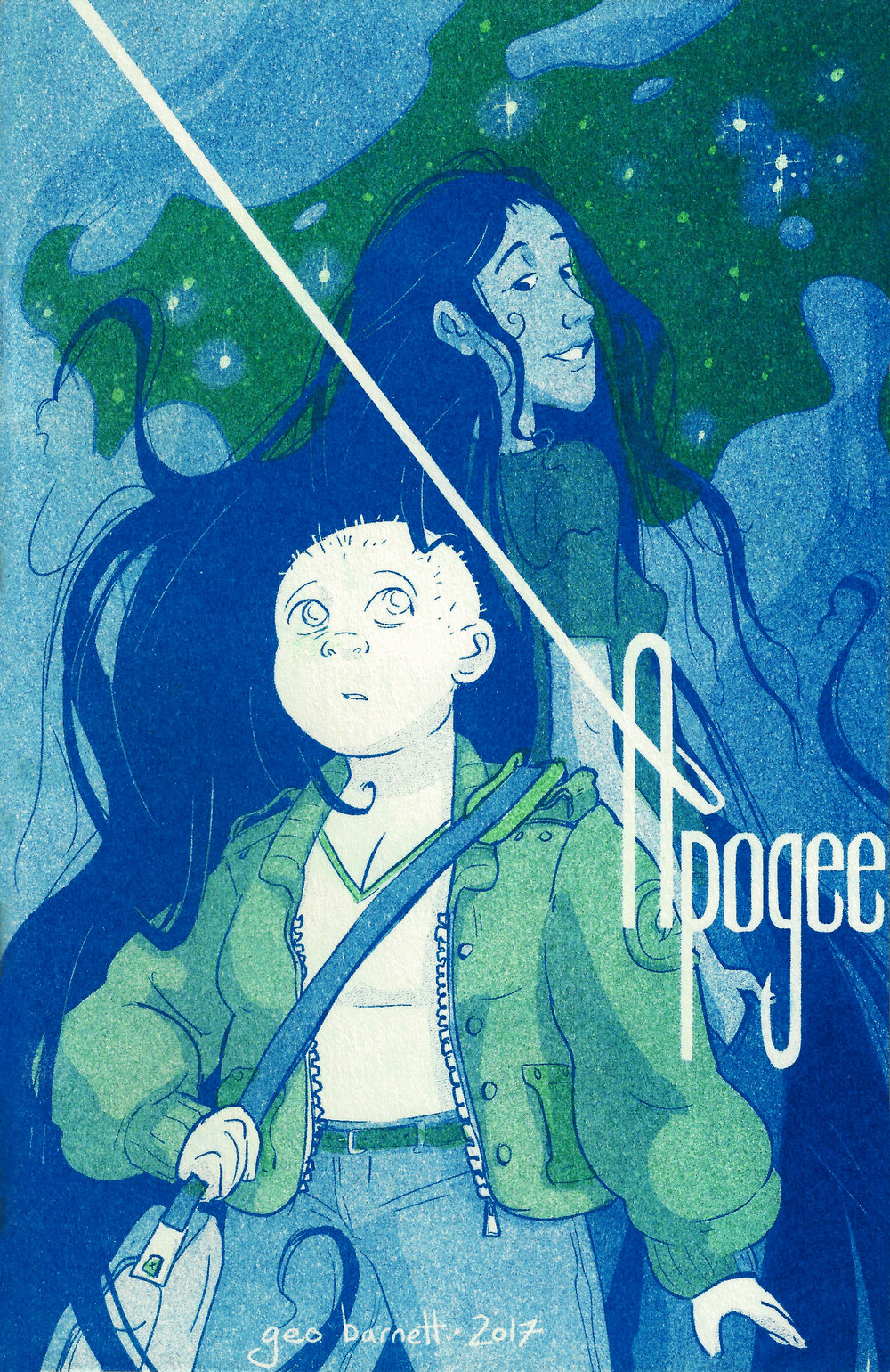 Apogee  is a short comic about coming and going in space. risograph, fall 2017