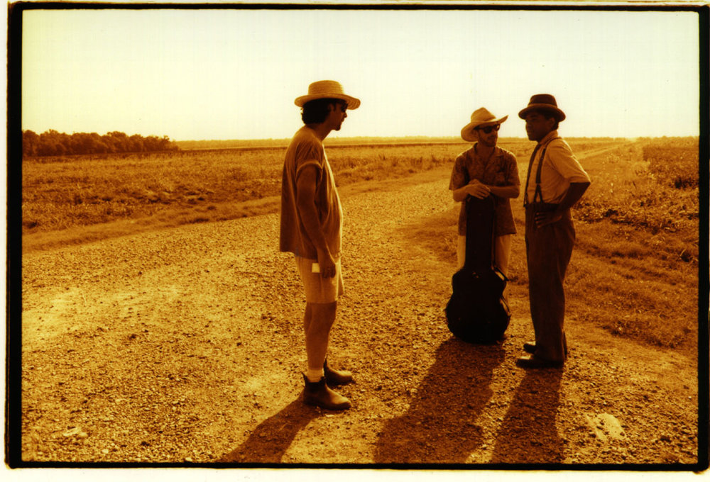 "Joel Coen, Ethan Coen, Chris Thomas King, on the movie set of ""O Brother, Where Art Thou?"""