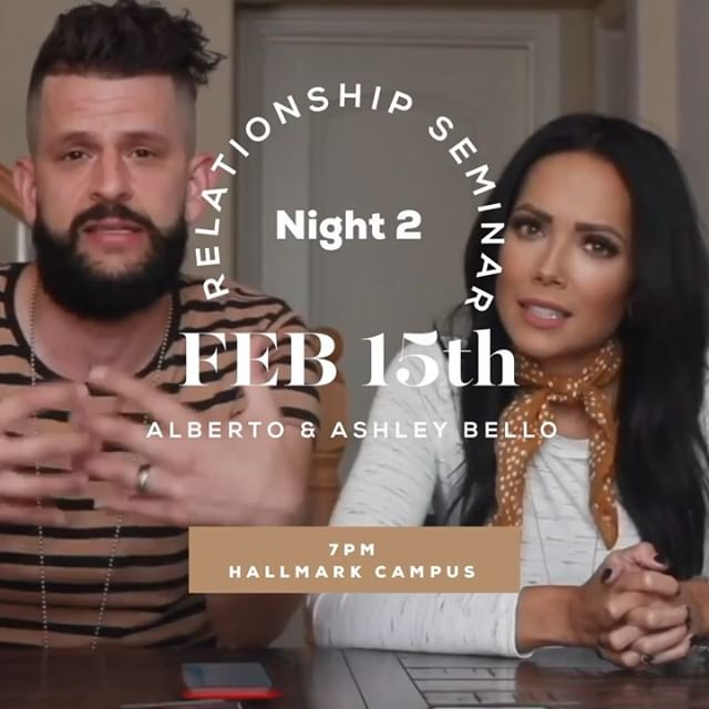 ✨What are you doing Friday night?✨ Cause I know you're not gonna miss night 2 of Relationship Seminar! Alberto and Ashley Bello are the special guests and we can't wait to hear and learn from them. You don't want to miss night 2. Make sure to swipe to hear a little from Alberto and Ashley before Friday night! • • • #bridgetheway #relationshipseminar2019