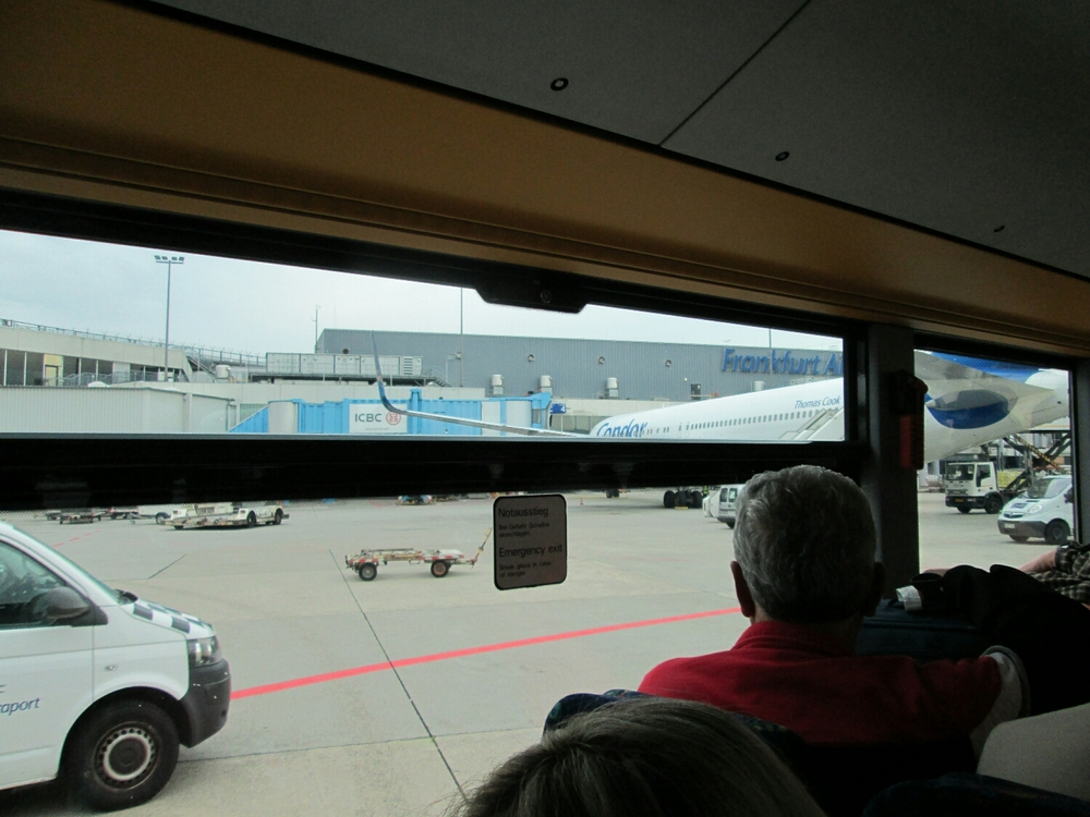 Taking the bus to the Frankfurt terminals after a soft landing