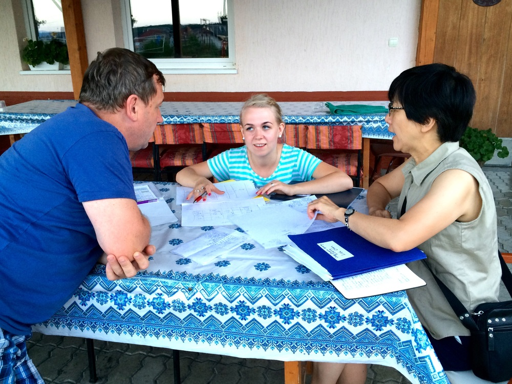After a short shopping trip to the market for the much needed supplies and international dinner food, Lisa, Lera and Valery met and review the plan for the Mercy Camp arragement, Etc