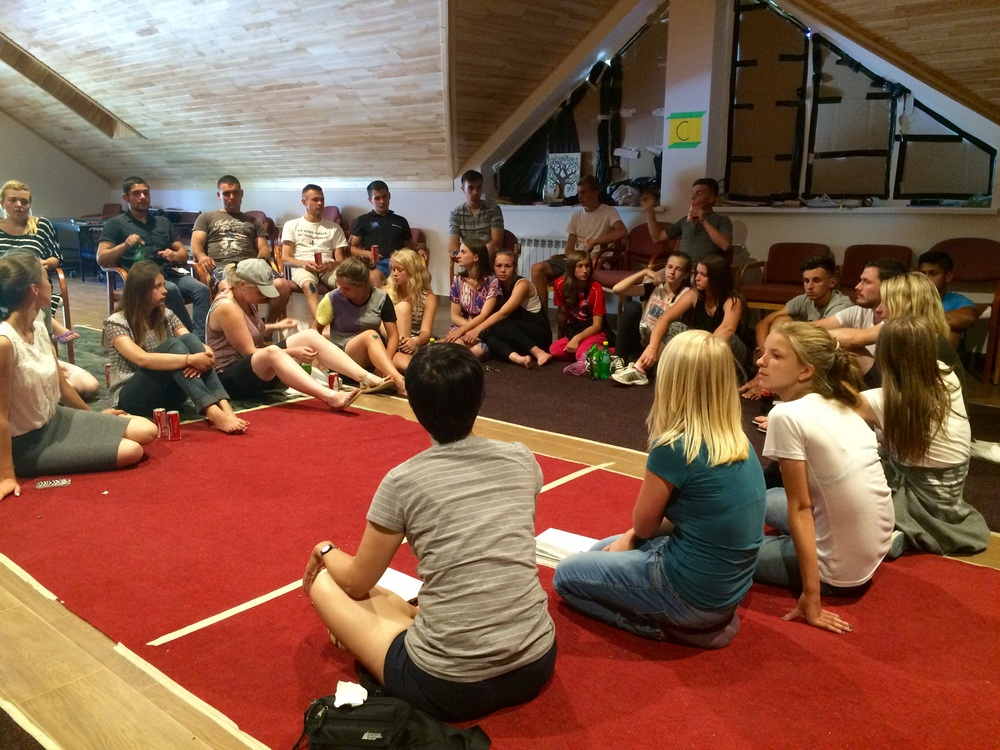 Leaders debriefing after camp. We prayed for all those Children accepted Jesus today. Praise the Lord