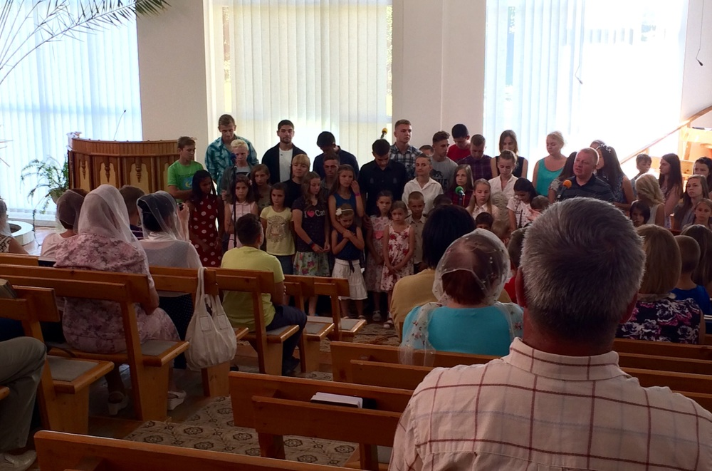 We sang one of the Camp song Jesus loves me in Ukrainian at the worship service.