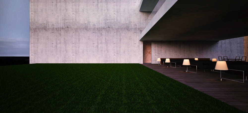 Concrete, field, lanai