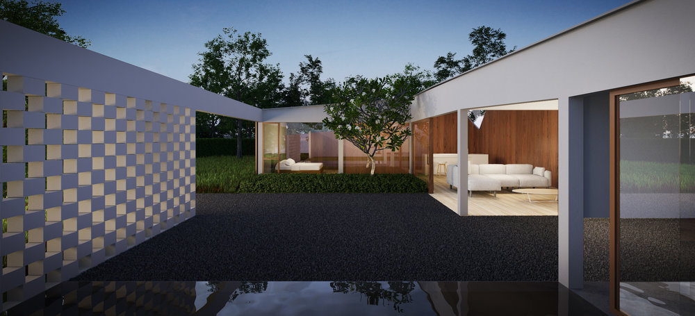 A central courtyard can be observed from the combined dining and living areas