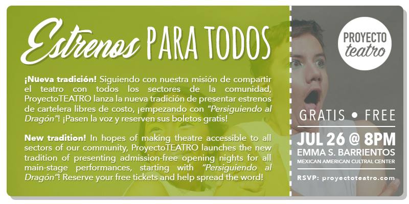 - ¡Estreno GRATIS! FREE opening night! 😱Reserven sus boletos para 7/26 y pasen la voz. // Reserve your tickets for 7/26 and share the news!