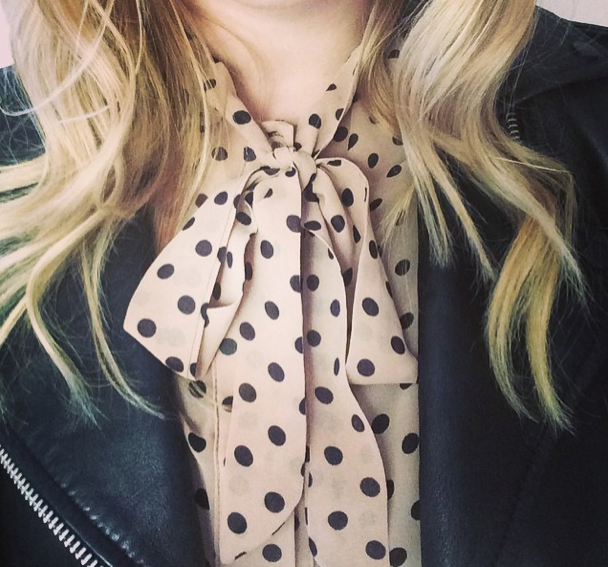 Think city chic. This outfit is casual cool for the up and coming winter months, (especially in Melbourne!)this polka dot pussy bow long sleeveblouse is cute and stylish! You can dress it with pants like I have hereOr again you could wear this blouse to the office team it up with a black pencil skirt. The options are endless!    Top: Spot to dot blouse   Pants: Pu zip it pants   Jacket: James & co Vegan leather trench