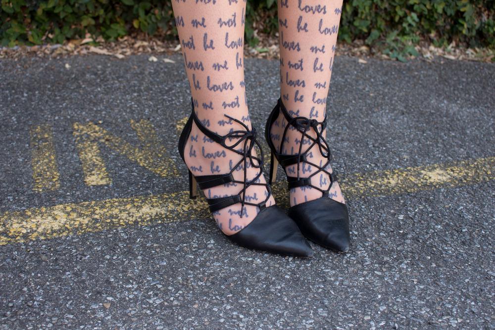 Shoes: Iris Footwear Savana Stockings: Jonathan Aston 'he loves me not' stockings in Lilac
