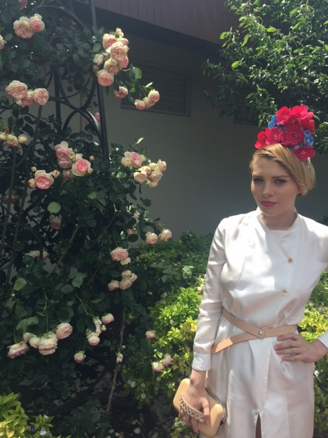 Wearing Millicent Elizabeth: Pythagoras silk trench dress & headpiece by kangan student Julie Mapley