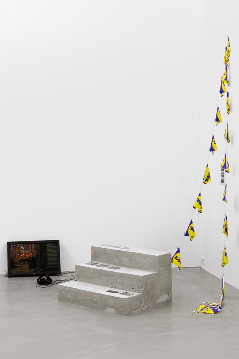 Jeremiah Day, If You Want Blood, 2013 HD video (9 min), concrete steps, bunting, dimensions variable