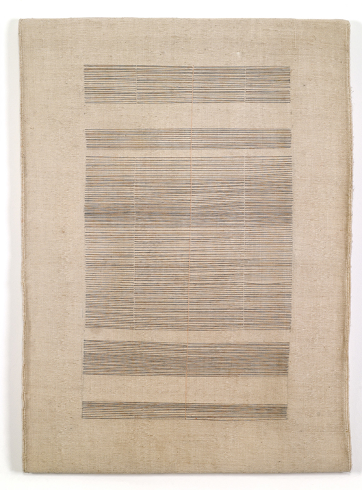 Haleh Redjaian,  Untitled , 2014 thread on handwoven textile, 100 x 70 cm