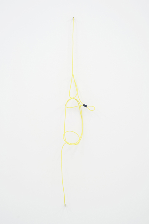 Electric Clef with Accent #2 (right),  2012 noise canceling instrument cable, brass wire, felt, and acrylic 157,5 x 25,4 cm