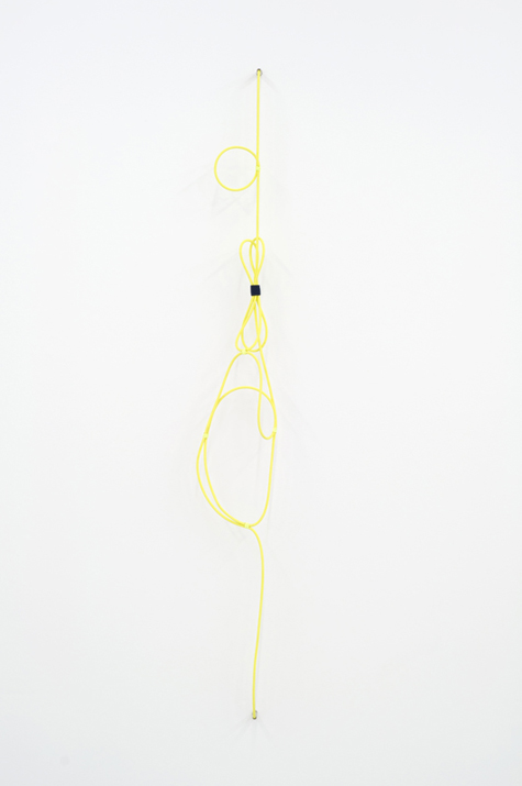 Electric Clef with Accent #1 (left) , 2012 noise canceling instrument cable, brass wire, felt, and acrylic 157,5 x 25,4 cm