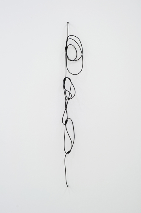 Shhh #10 - left,  2012 noise canceling instrument cable, brass wire, and black felt 157,5 x 25,4 cm