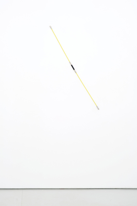 Neon Fragment (for Fred) - right,  2012 noise canceling instrument cable, brass wire, and felt 157,5 cm