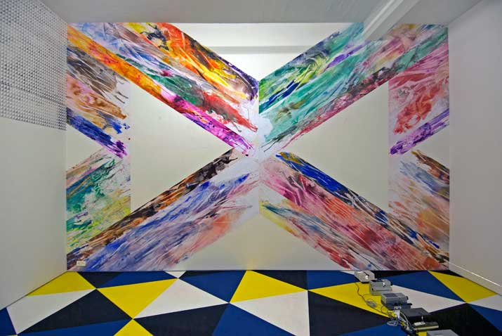 Geka Heinke,  Double X Poured , 2010 acrylic on paper, 4,14 x 6,45 m