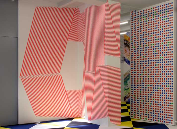 Terry Haggerty,  Into Fluorescent , 2010 acrylic on Wall, 4 x 4 m Erick Meyenberg,  RGB Mexican Genome,  2010  acrylic on Wall, 2,26 x 3,84 m