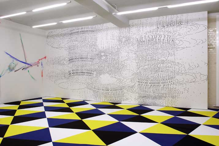 Gerhard Mayer,  #28 , 2010 ink on wall, 8,38 x 3,80 m
