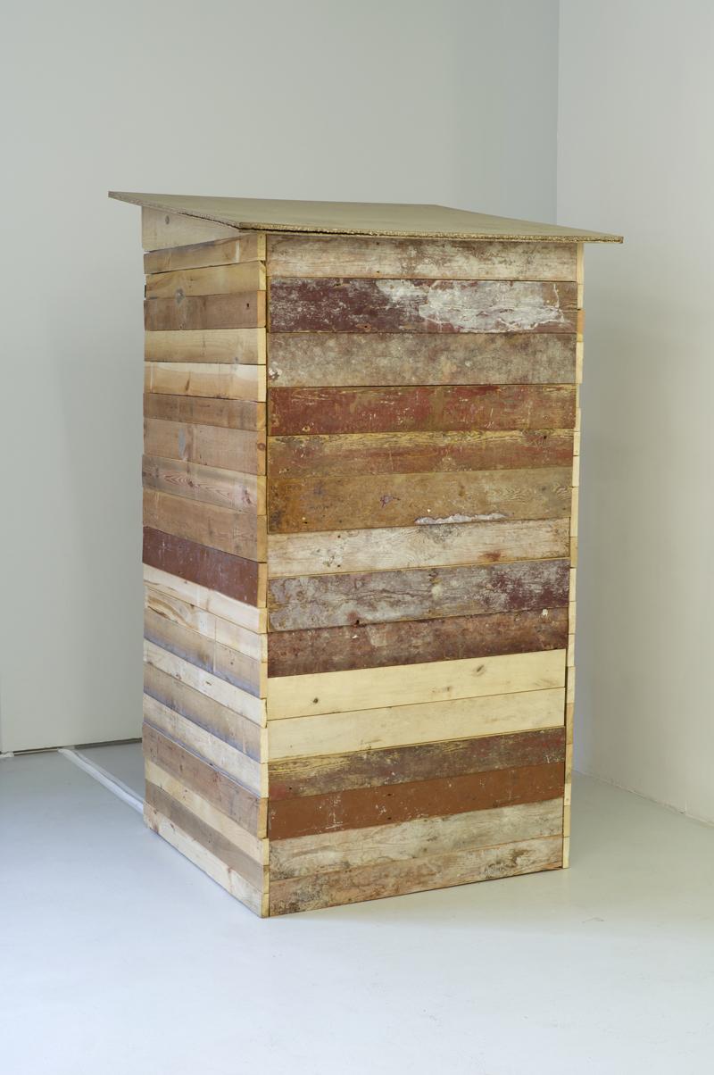 Paula Niño Ramirez, La caseta , 2012 wood, audio, 190 x 100 x 100 cm