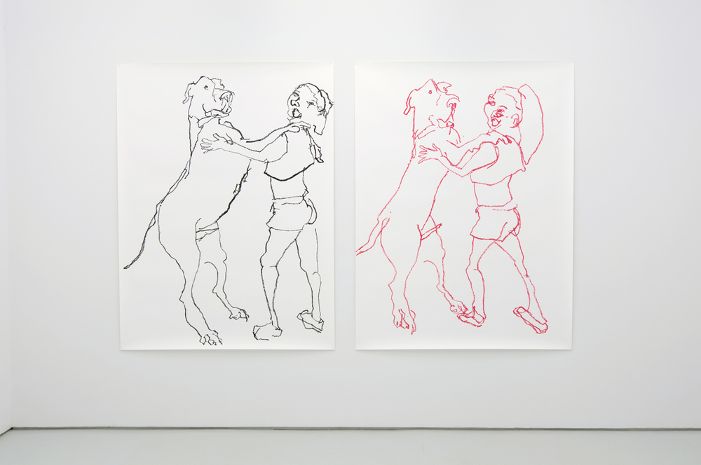 Armin Keller,  Young lady with dog dancing , 2012 simultaneous blind contour drawing (with left and right hand), industrial marker on paper, Dyptych, 200 x 150 cm each