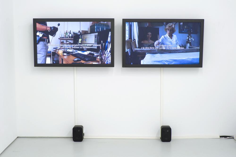 Daniel Kötter/Alina Rojas & Javier Hinojosa , Arbeit und Freizeit (2) – Fiesta y ensayo (2) , 2009  2-channel video, 24', performance, installation