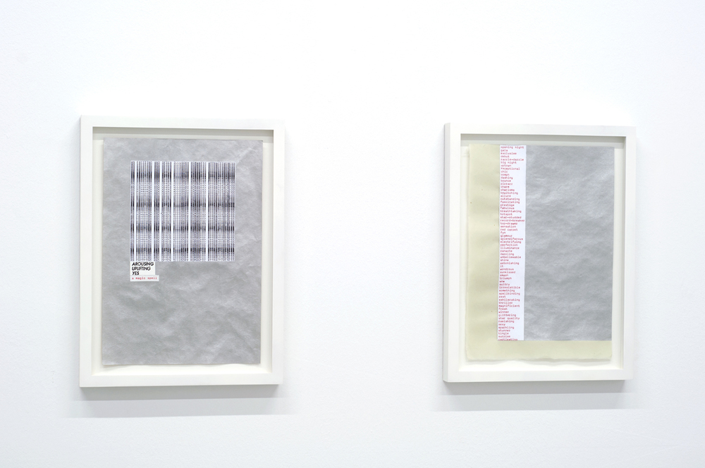 Jennifer Bornstein,  1.Three Los Angeles Word Collections, Printed Using Three Different Technologies 2.One Los Angeles Word Collection , 2012 collage on kitakata paper with gouache, 29,7 x 21 cm each