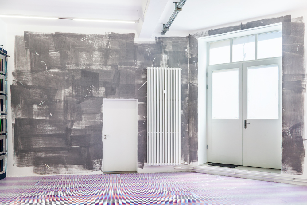 Friederike Feldmann,  dust , 2015 acrylic and masking liquid maker on wall, dimensions variable