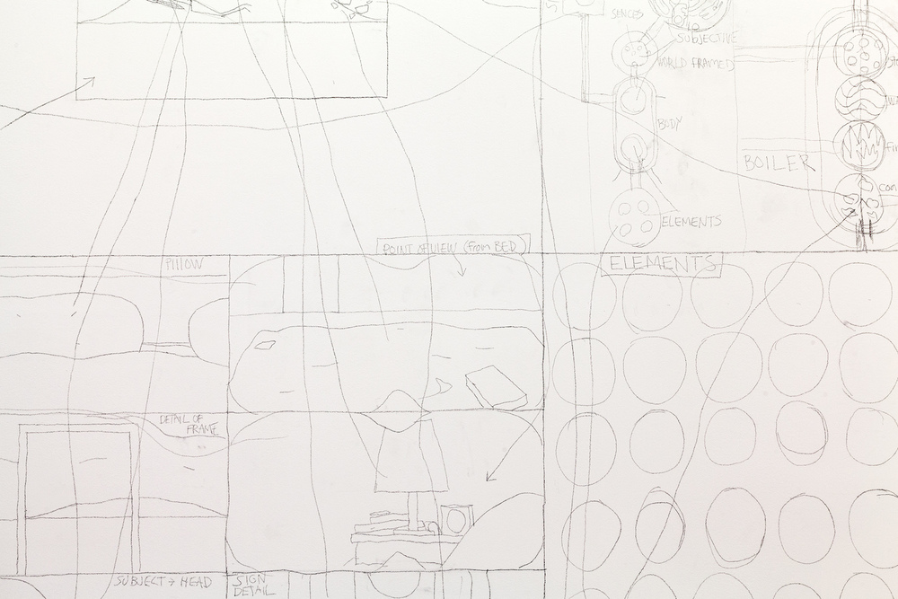 Matt Mullican,  Untitled (A context for nothing) , 2015 lead pencil on wall, 323 x 663 cm