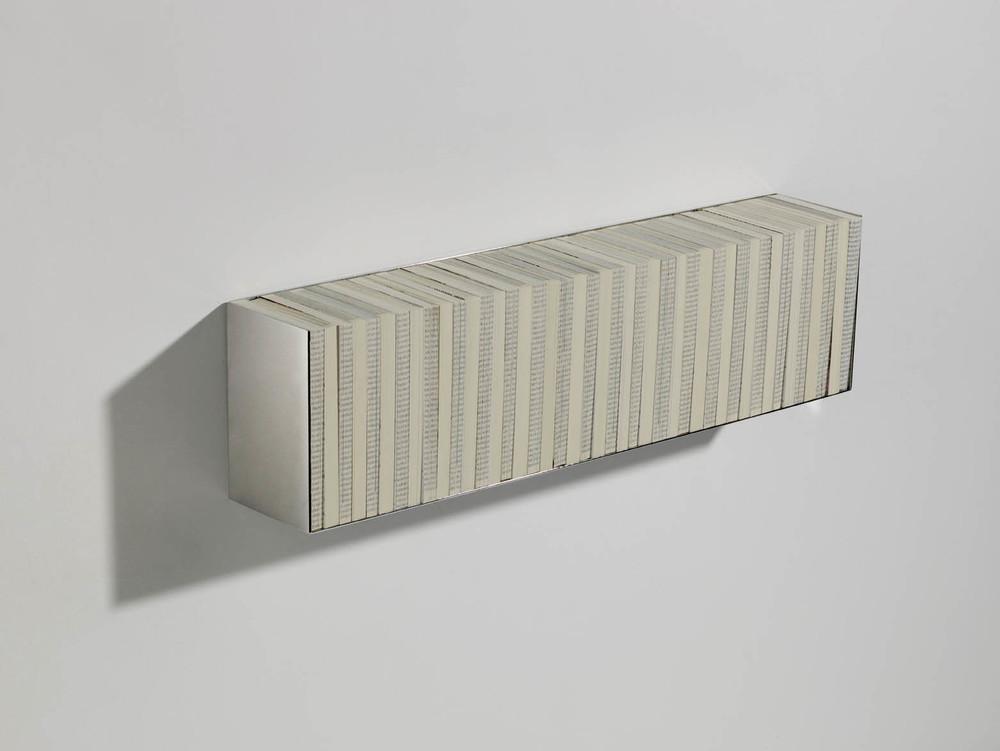 "Fernanda Fragateiro  (Not) Reading Kursbuch , 2, 2009 43 volumes of the ""Kursbuch"" magazine, polished stainless steel, 70 x 19 x 13 cm"