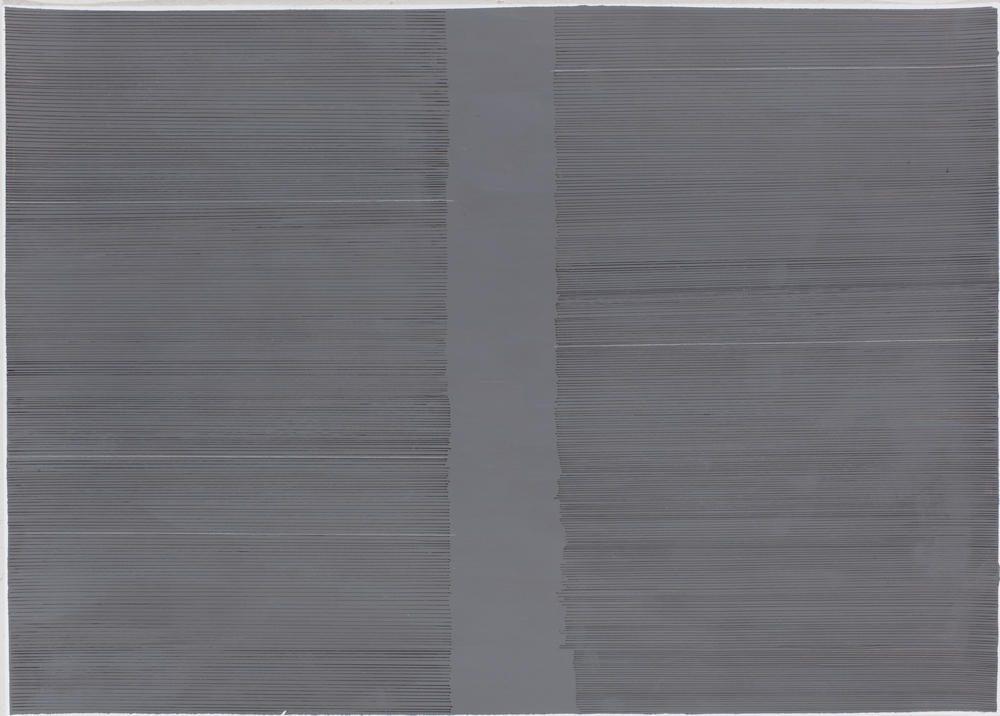 5 White Lines , 2014 acrylic, ink, white pencil on paper, 50 x 70 cm