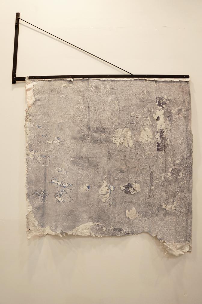 Pablo Rasgado  Monochromatic Muralism Fresno , 2014 variation of strappo, 100 x 100 cm