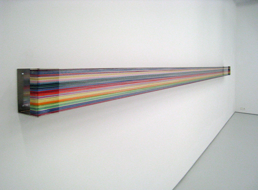 Nao Ligar #4 , 2008 polished stainless steel, silk thread, 485 x 20 x 15 cm