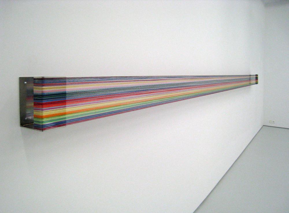 Fernanda Fragateiro  Nao Ligar #4 , 2008 polished stainless steel, silk thread, 485 x 20 x 15 cm
