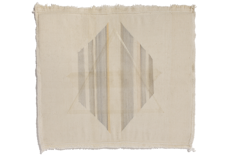 Untitled , 2015 thread on hand woven textile, 75 x 75 x 8 cm framed